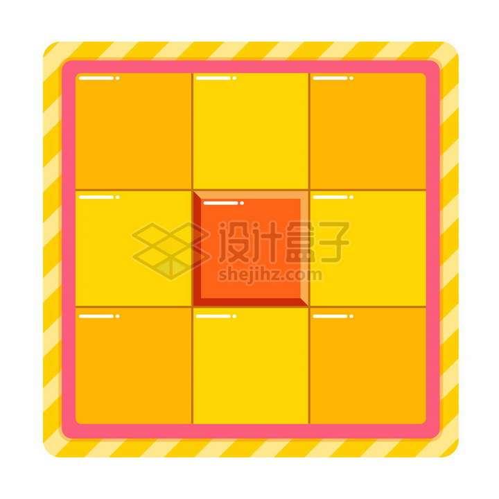 黄色橙色微信电商九宫格翻拍抽奖界面png图片免抠矢量素材