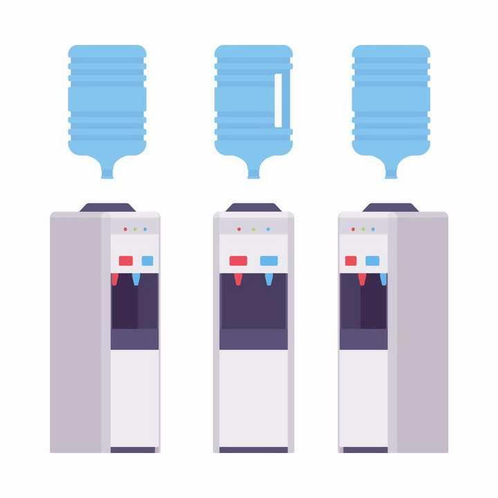 三个角度的饮水机和桶装纯净水png图片免抠素材