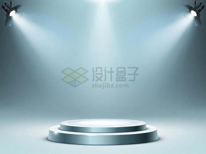 三盏聚光灯照射下的圆形金属展台舞台png图片免抠矢量素材