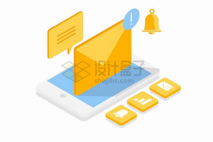 2.5D风格手机上的未读信息邮件png图片免抠矢量素材