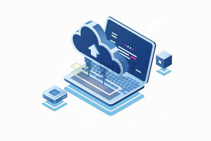 2.5D风格笔记本电脑和云计算存储技术连接在一起png图片免抠矢量素材
