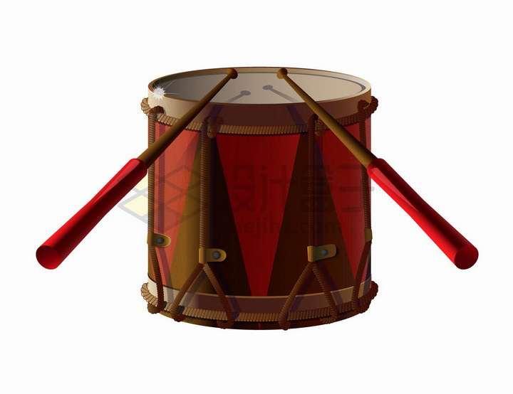 红色的军鼓架子鼓西洋乐器png图片免抠矢量素材
