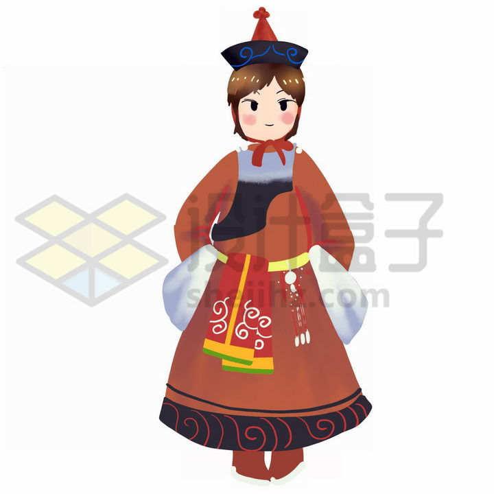 卡通蒙古族小男孩传统服饰少数民族png图片免抠素材