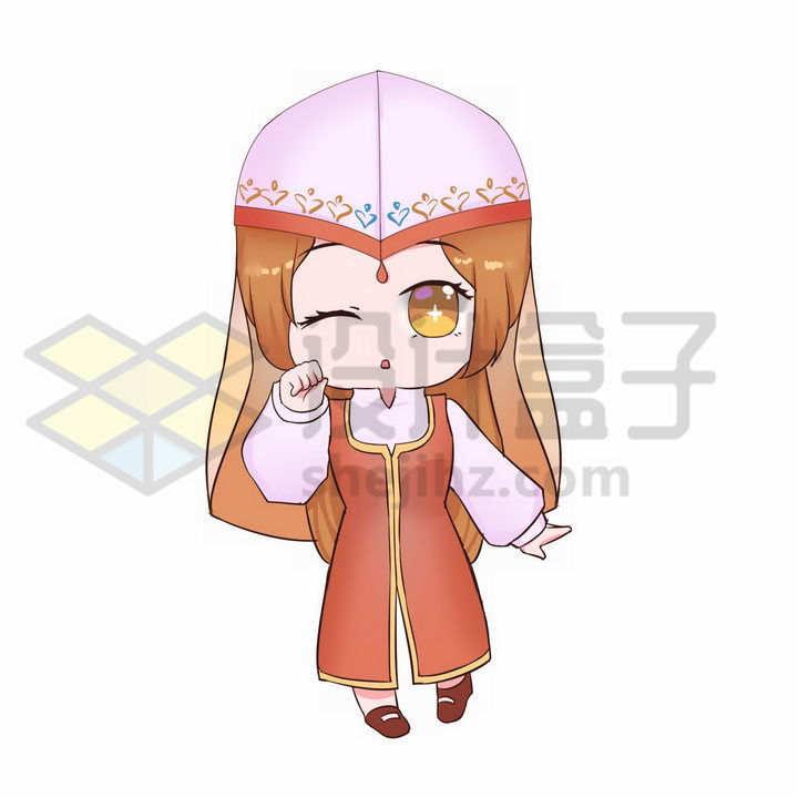 Q版卡通回族少女传统服饰少数民族png图片免抠素材