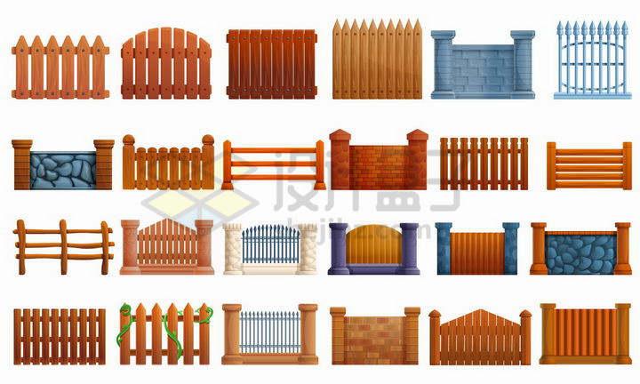 24款木制石块砖头组成的栅栏围墙png图片免抠矢量素材