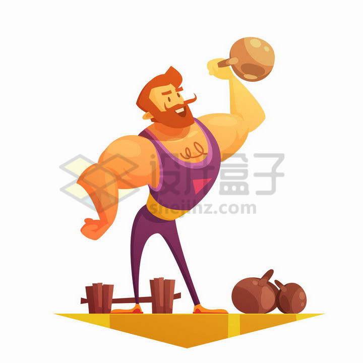 卡通肌肉男正在提举壶铃锻炼身体png图片免抠矢量素材