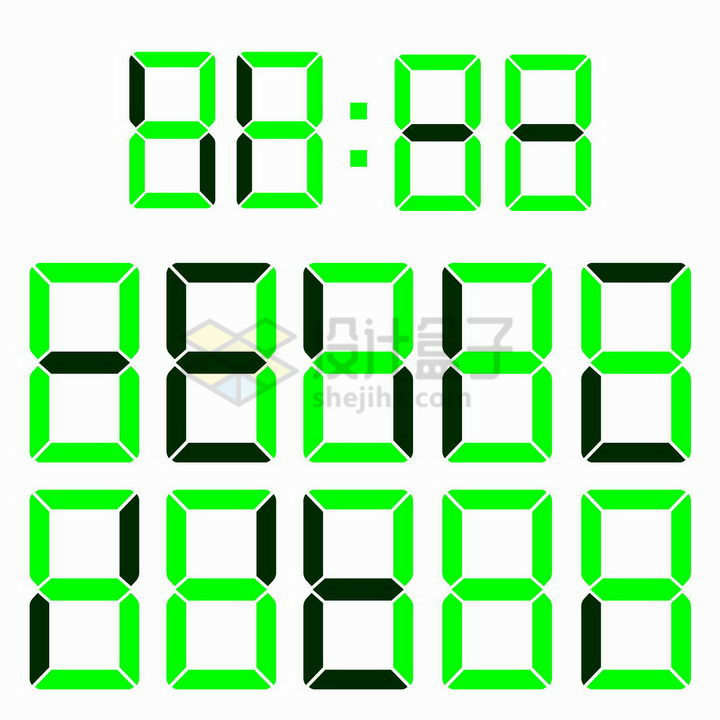 经典绿色液晶显示数字倒计时png图片免抠矢量素材