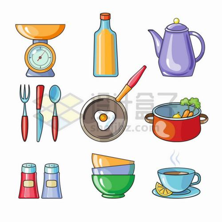 天平秤油瓶油壶刀叉平底锅炖锅调料瓶等厨房用具png图片免抠矢量素材