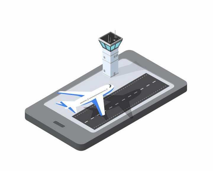 手机上的2.5D立体飞机场png图片免抠矢量素材
