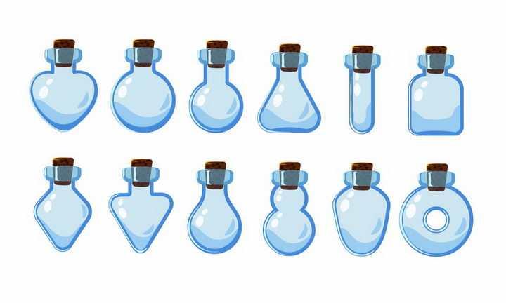 10种卡通游戏中的淡蓝色药水瓶png图片免抠矢量素材