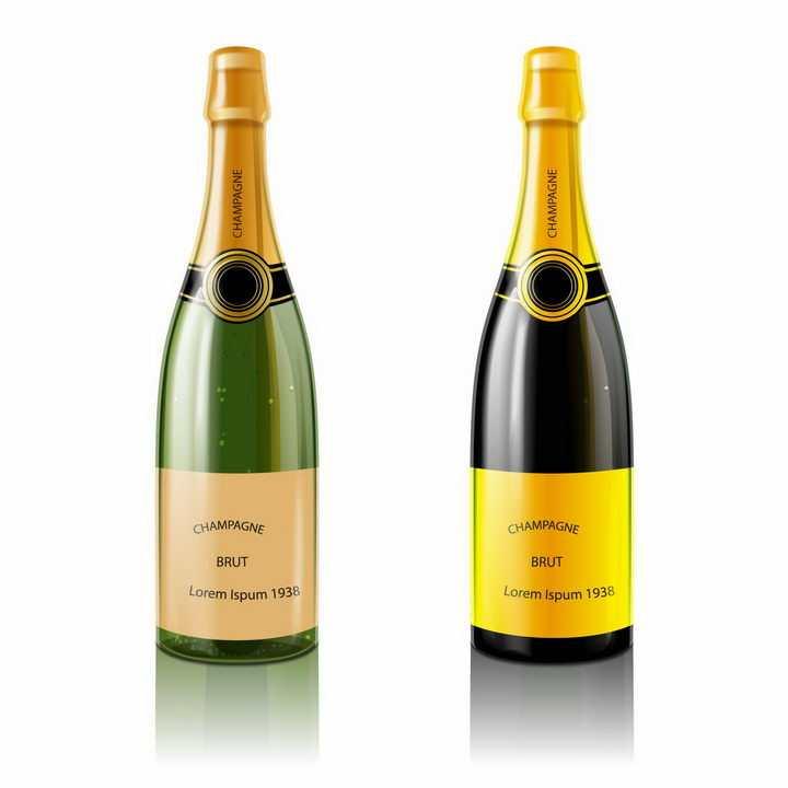 两瓶逼真的未开封香槟酒png图片免抠素材