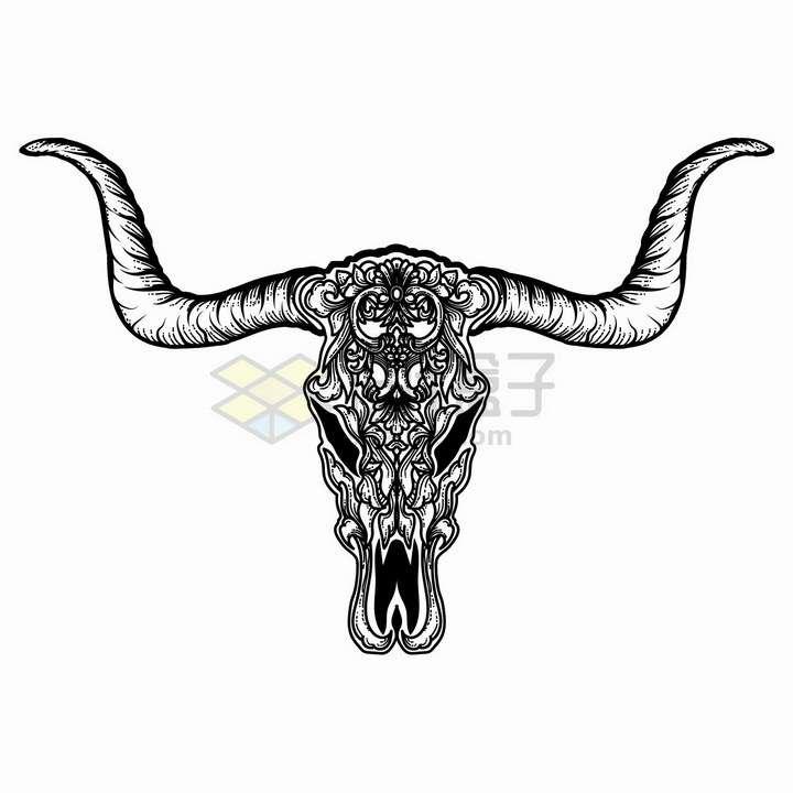 羚羊头骨和羊角带有抽象花纹黑色线条插画png图片免抠矢量素材