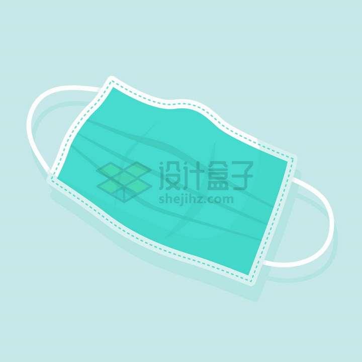 绿色一次性医用口罩扁平插画png图片免抠矢量素材