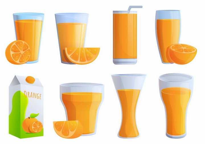 8款卡通风格橙汁果汁png图片免抠素材