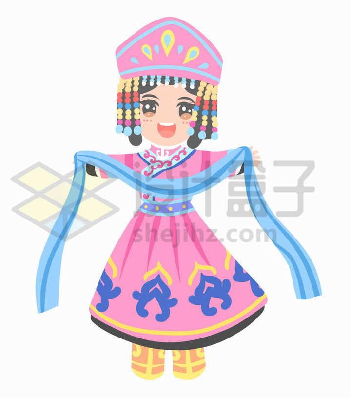 献哈达的Q版卡通蒙古族少女传统服饰少数民族png图片免抠素材