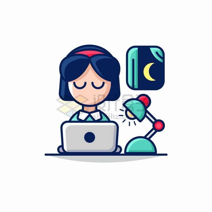 MBE风格深夜正在工作学习的卡通女孩png图片免抠矢量素材