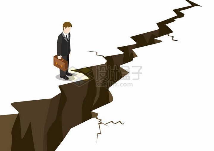 面对裂开大地的商务人士象征了职场中的困难png图片免抠素材