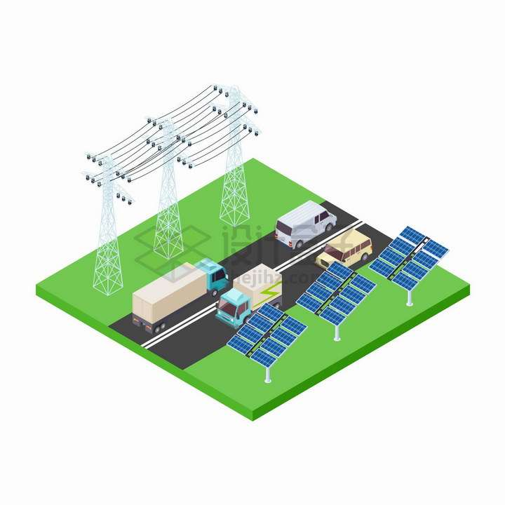 2.5D风格高速公路和两旁的太阳能发电板以及特高压输电线png图片免抠矢量素材