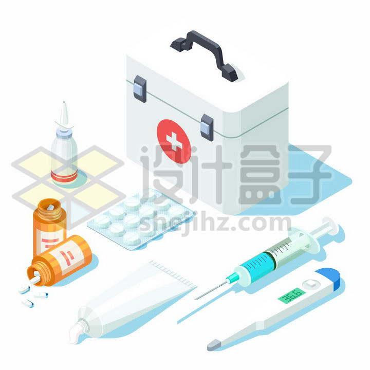 2.5D风格医疗箱和滴瓶药瓶针筒注射器体温计等png图片免抠矢量素材