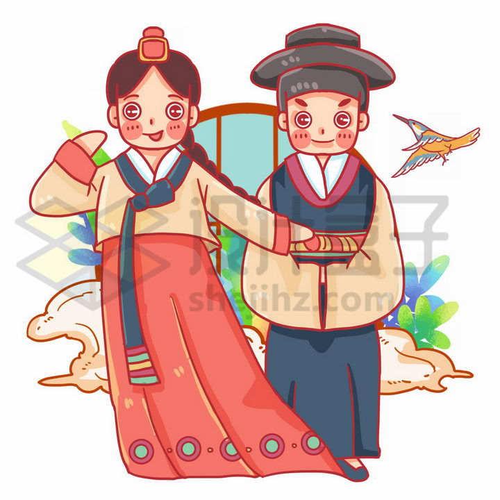 卡通朝鲜族少女少年传统服饰少数民族png图片免抠素材