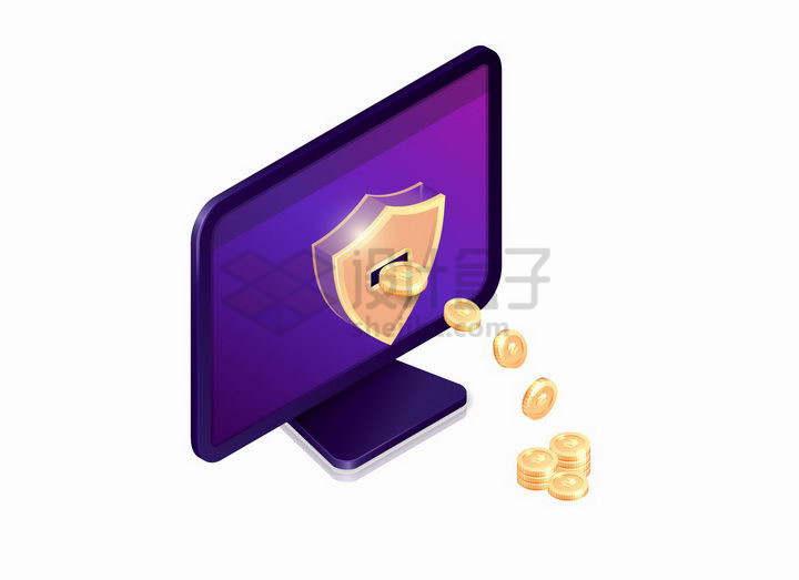 3D风格紫色电脑显示器中吐出的金币象征了网络支付png图片免抠矢量素材