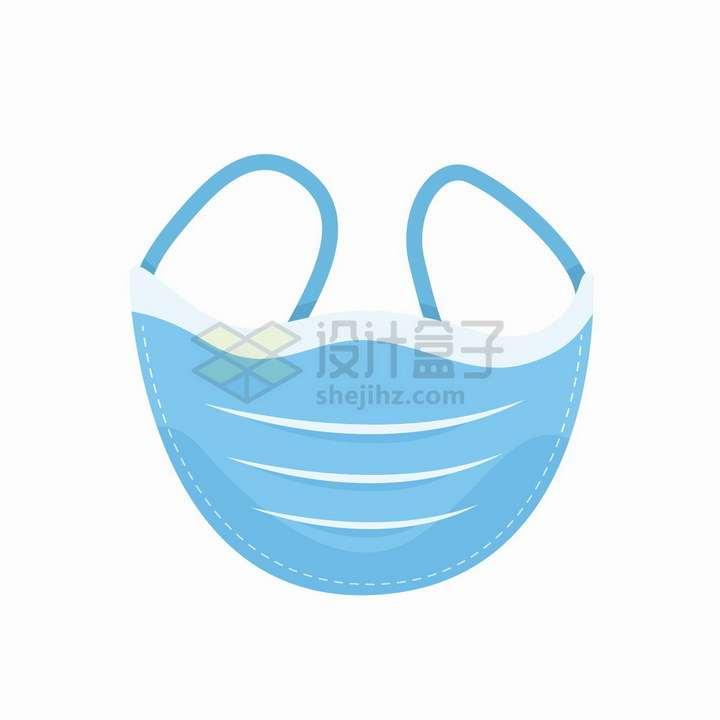 蓝色一次性医用口罩扁平化png图片免抠矢量素材