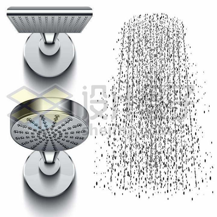 两款金属银色淋浴喷头花洒莲蓬头和水滴效果png图片免抠矢量素材