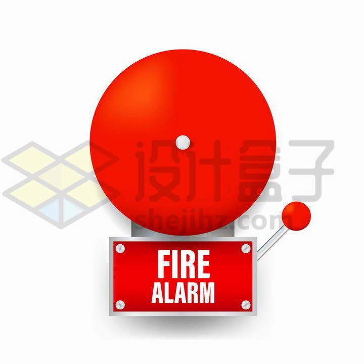 红色的火灾报警系统警铃png图片免抠矢量素材