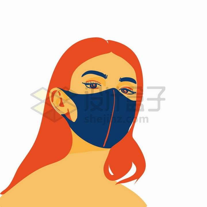 戴口罩的女人插画png图片免抠矢量素材