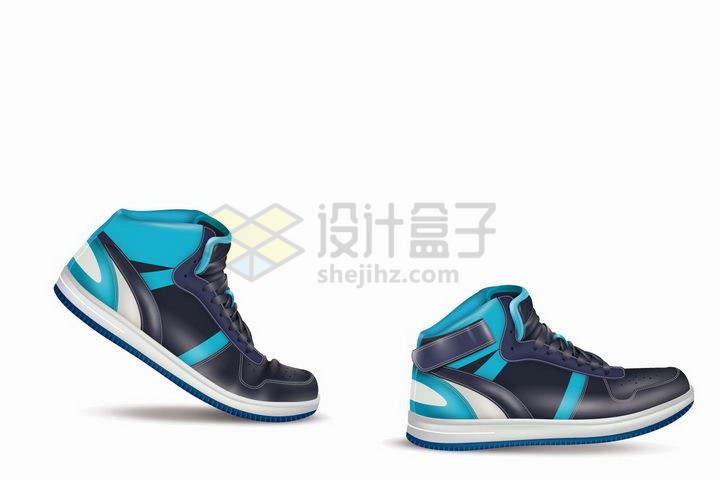 一双蓝色黑色的运动鞋篮球鞋png图片免抠矢量素材