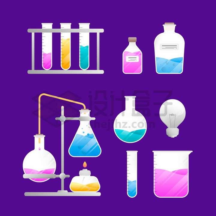 装有彩色液体的试管烧瓶酒精灯量杯等化学实验用品png图片免抠矢量素材