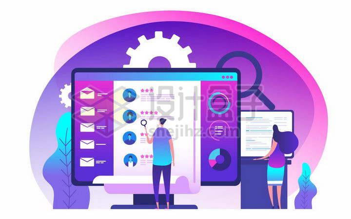 企业HR正在招聘网站上浏览求职者的信息扁平插画png图片免抠矢量素材