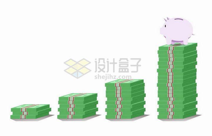 高度不断增加的绿色美元钞票png图片免抠矢量素材