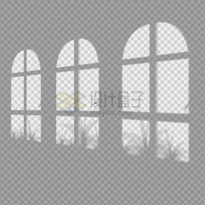 一排拱形窗户和窗外的树叶留下的影子png图片免抠矢量素材