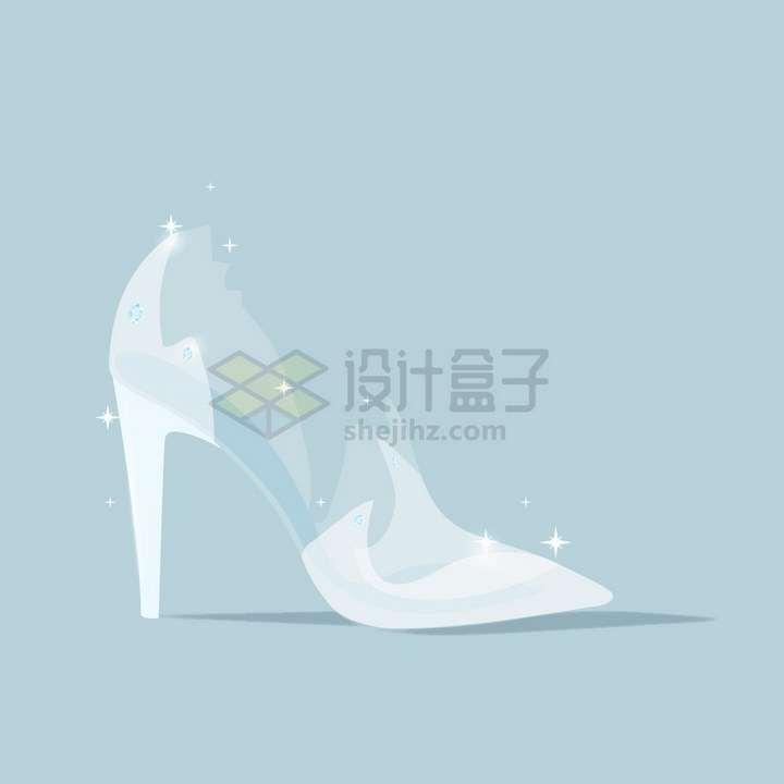 白色半透明的水晶高跟鞋png图片免抠矢量素材
