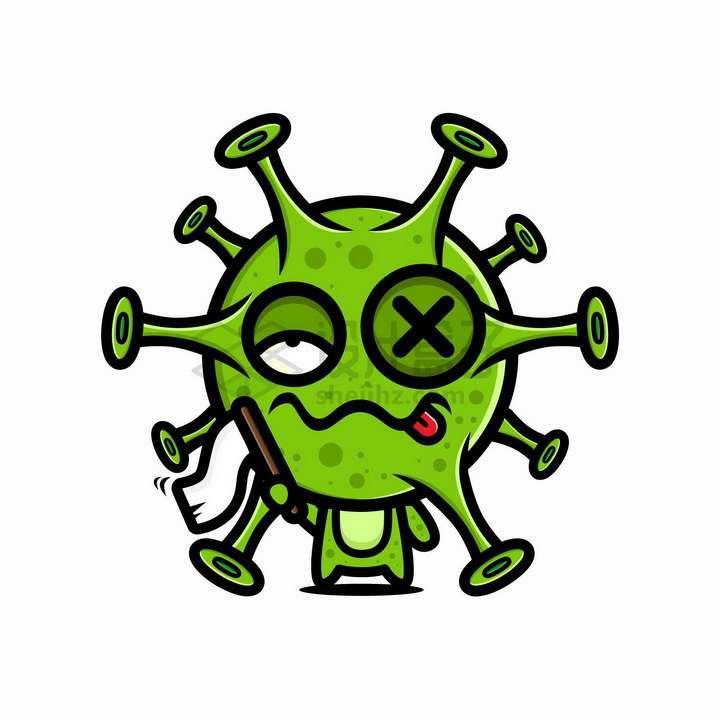 被打得鼻青眼肿高举白旗投降的卡通新型冠状病毒png图片免抠矢量素材