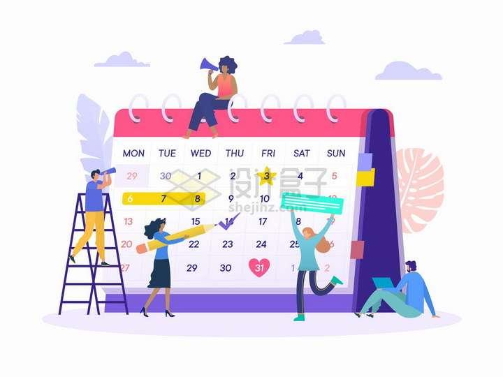 爬梯子在日历本上勾选日程安排的年轻人扁平插画png图片免抠矢量素材