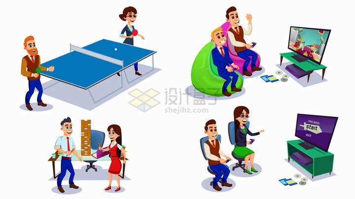 卡通商务人士打乒乓球看电视玩游戏等上班休闲活动png图片免抠矢量素材