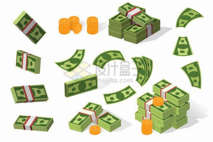 各种美元钞票和硬币金币图案png图片免抠矢量素材