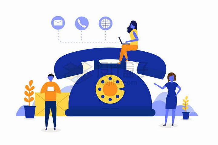 深蓝色坐在电话机上的客服人员电话客服扁平插画png图片免抠矢量素材