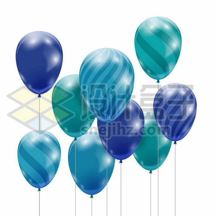 蓝色紫色斑点条纹气球装饰png图片免抠矢量素材