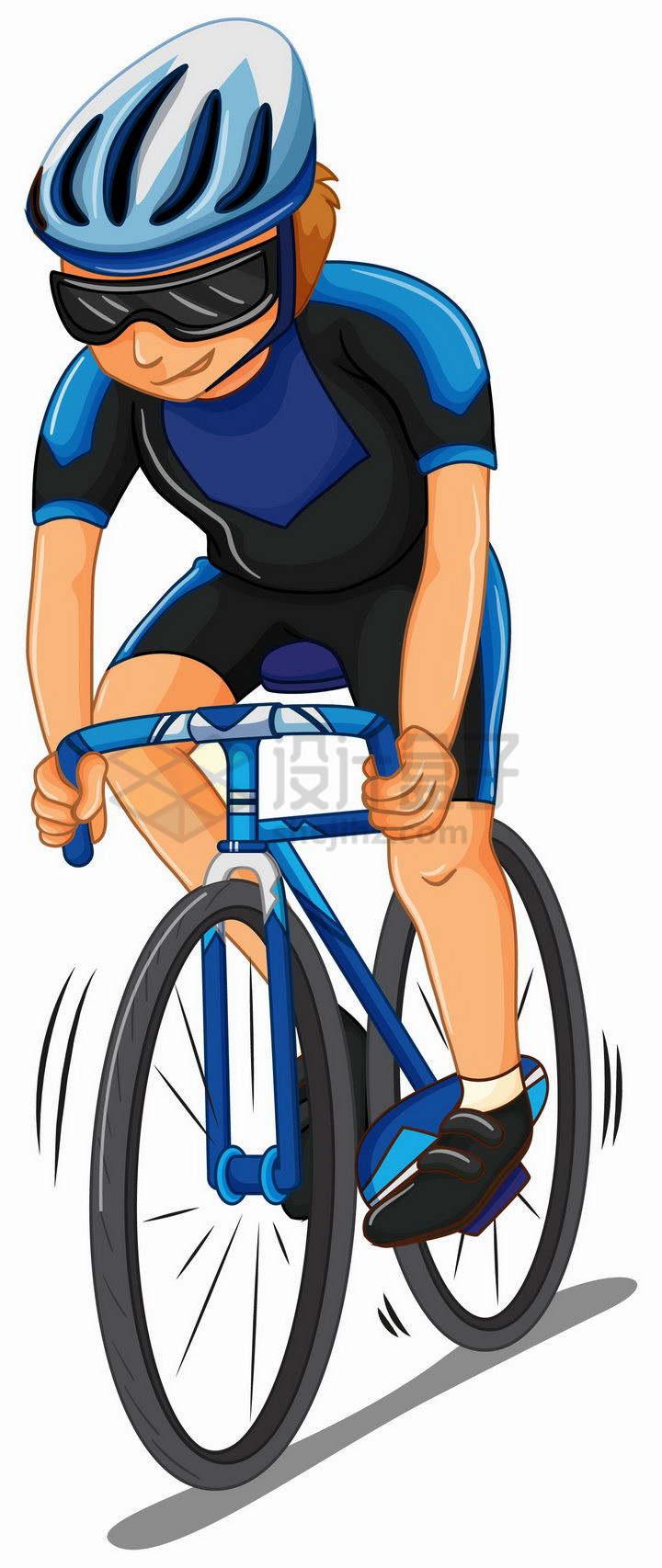 卡通专业运动员正在骑公路自行车赛车png图片免抠矢量素材