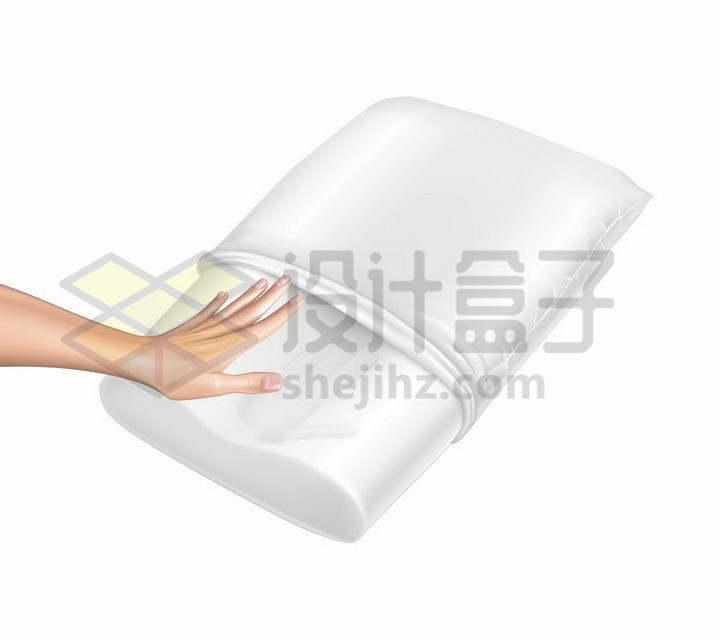 一只手按在洁白的乳胶枕头上png图片免抠矢量素材