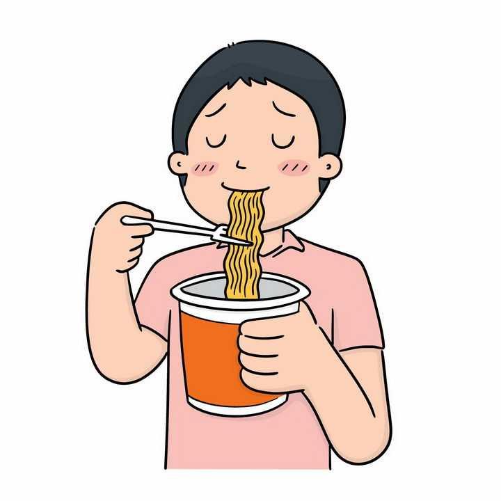 正在吃泡面方便面的卡通男孩png图片免抠素材