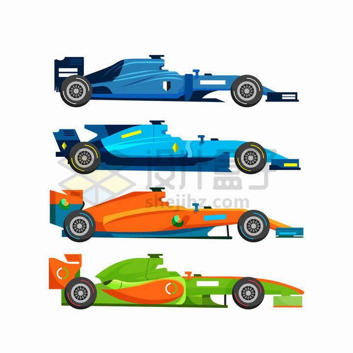 4款不同颜色的F1方程式赛车侧视图png图片免抠矢量素材