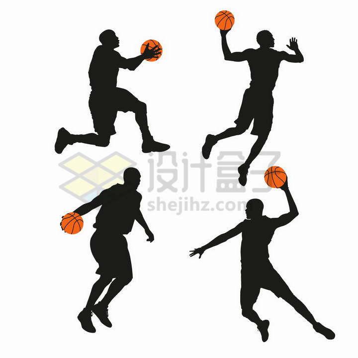 4款篮球运动员拿着橙色篮球投篮灌篮png图片免抠矢量素材