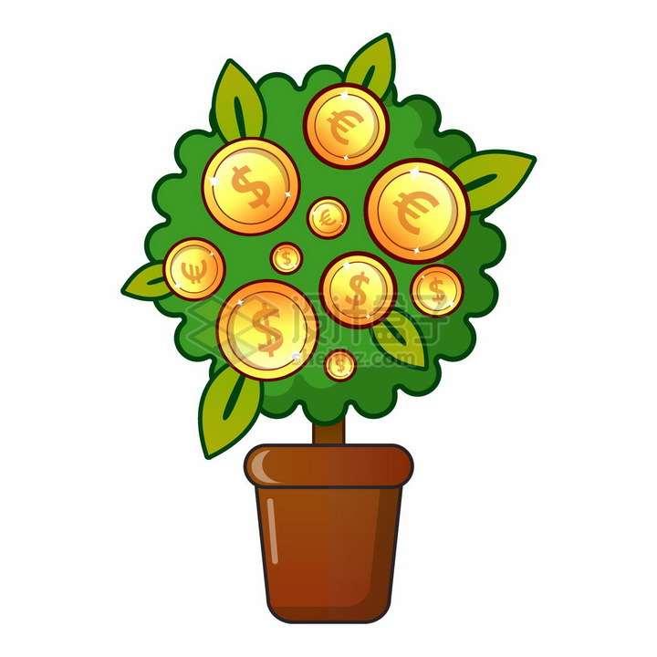 花盆里的摇钱树结出了美元和欧元金币png图片素材