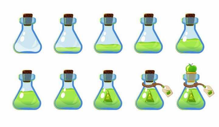 10种卡通游戏中的绿色药水瓶png图片免抠矢量素材