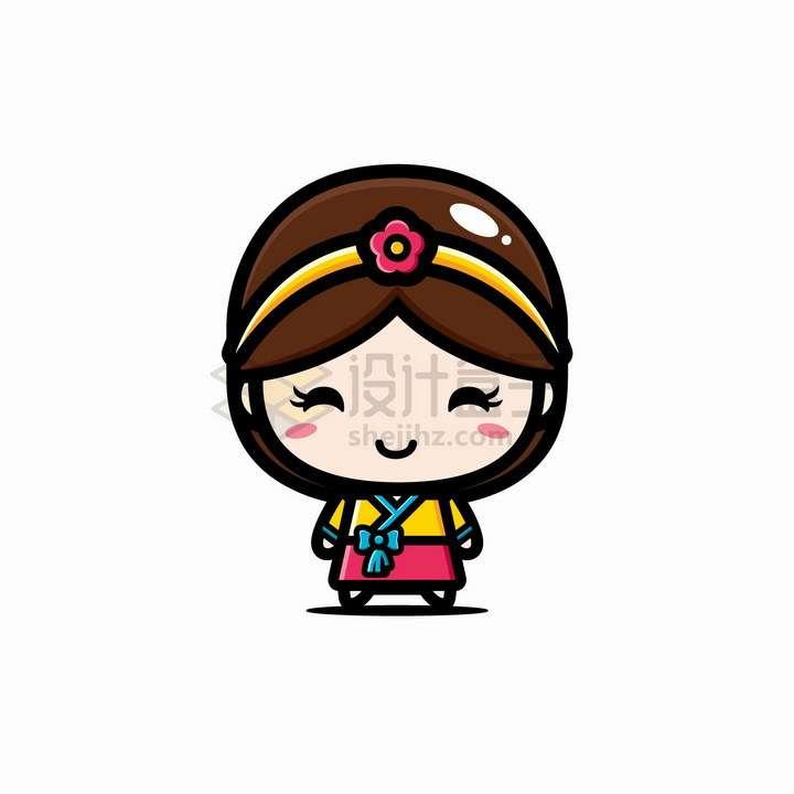 可爱的卡通朝鲜族韩国女孩png图片免抠矢量素材
