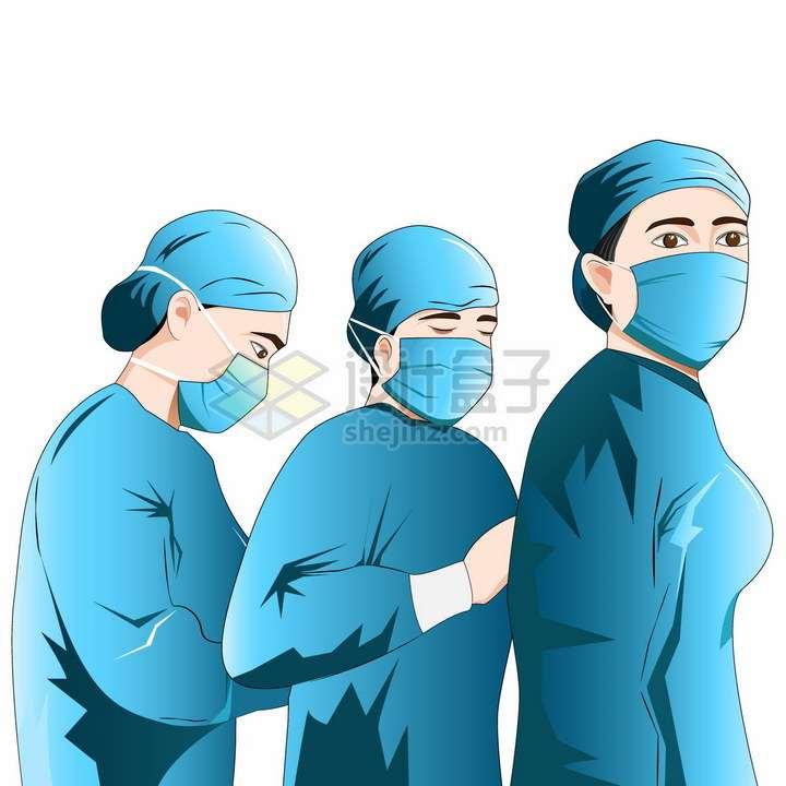 戴口罩的一群蓝衣医护人员医生护士png图片免抠矢量素材